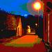 Rue sombre & lampadaire /  Street lamp and narrow street in the dark  - Båstad / Suède - Sweden.  23-10- 2008 - Postérisation