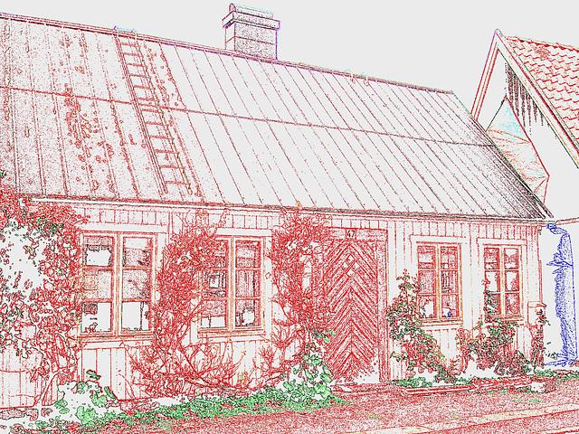 Maison / House  No-47  .  Båstad .  Suède / Sweden.  21-10-2008 - Contours de couleurs ravivées