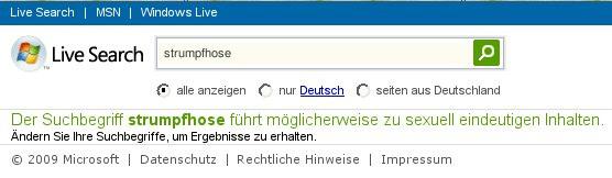 Ich fordere ein Stoppschild für MSN Live Search!