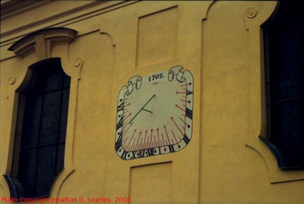 Sundial on Kostel Nejsvetejsi Trojice, Dobris, Bohemia (CZ), 2008