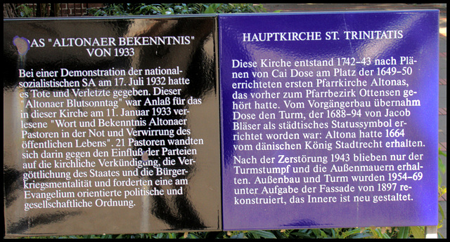 "Sign about St. Trinitatis - Church (Hamburg Altona, Germany) and ""Altona Bloody Sunday"""