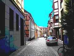 Charmante ruelle étroite et calme /  Varubelaning narrow street eyesight  -  Helsingborg  / Suède - Sweden.  22 octobre 2008-  Postérisée