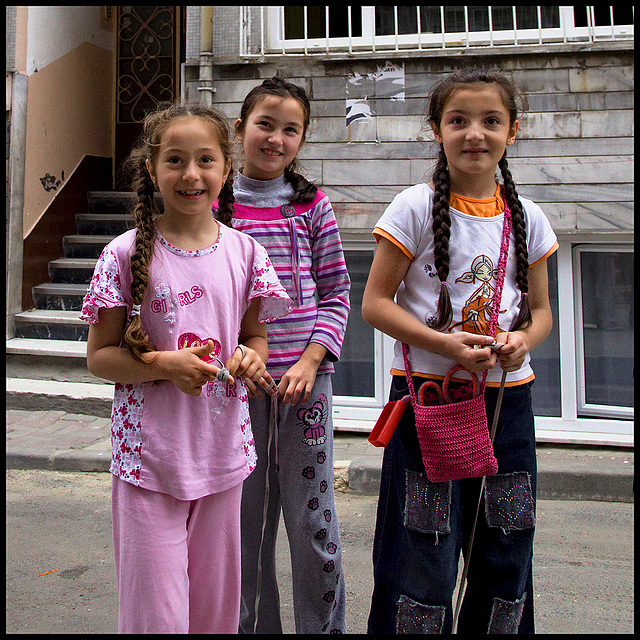3 friendly young girls