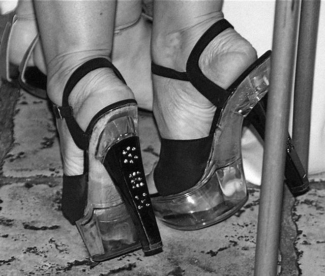 Wedding heels - Feb 2009. B & W