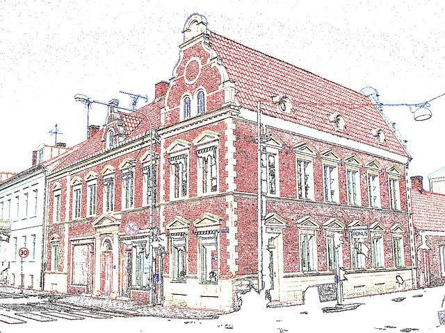 Architecture typiquement suédoise / Fonus typical Swedish building - Ängelholm / Suède - Sweden.  23 octobre 2008- Contours de couleurs et couleurs ravivées