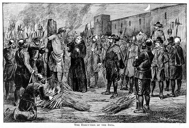 Exécution par le feu de Atahualpa, Pérou
