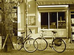Regard sur vélos suédois / Handlesbanken Swedish Bikes eyesight  /  Ängelholm en Suède - Sweden .  23 octobre 2008 - Sepia