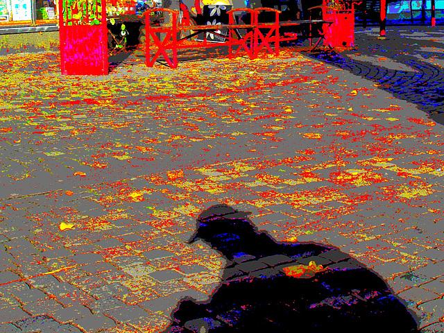 L'ombre du photographe voyeur / Specialbokhandle shadowman candid shooter -  23 octobre 2008 / Postérisée et couleurs ravivées