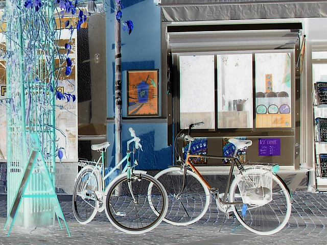 Regard sur vélos suédois / Handlesbanken Swedish Bikes eyesight  /  Ängelholm en Suède - Sweden .  23 octobre 2008- Effet de négatif