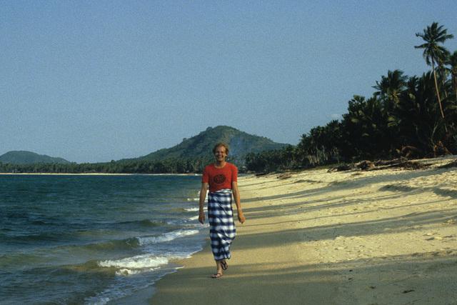Myself walking along the Mae Nam Beach