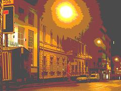 Luminosité mitigée dans une rue de Helsingor  /  Helsingor's spotlights by the night -   Danemark / Denmark.  24-10-08  - Burning night sun /  Soleil de feu