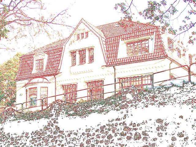 Maison luxueuse et banc à graffitis / Luxurious house and grafitis bench - Ängelholm / Suède - Sweden - 23 octobre 2008- Contours de couleurs ravivées