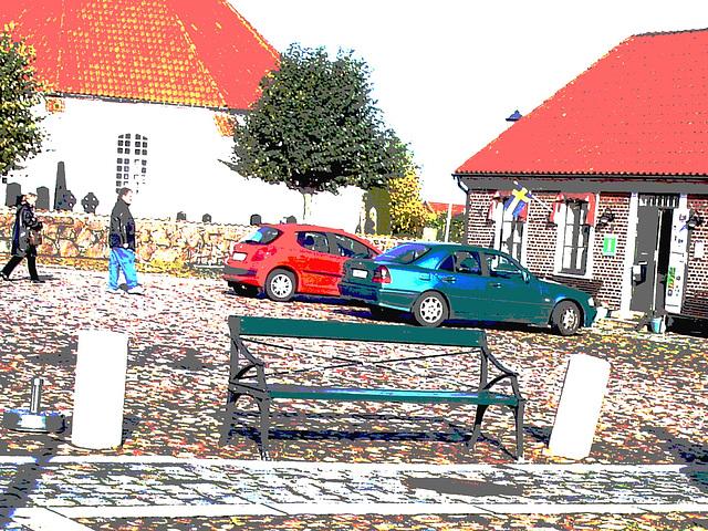 Le Banc / The bench.  Båstad / Suède - sweden.  Octobre 2008.   Postérisé