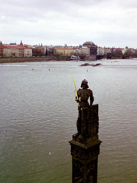 Prag Statue im Wasser