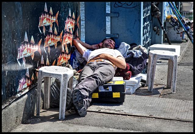 fisherman's rest on Galata bridge.........