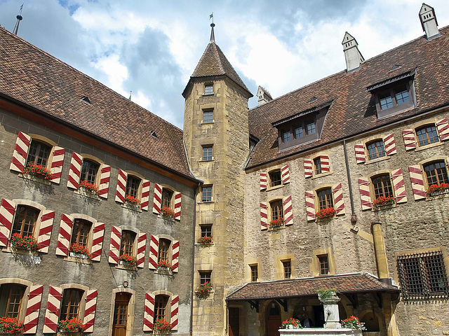 P6237937ac Neuchatel Justice Palace Colorful Shutters