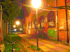 Lampadaires et graffitis / Street lamps & wall graffitis.   Copenhague. Danemark - 26-10-2008  -  Postérisation