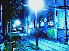 Lampadaires et graffitis / Street lamps & wall graffitis.   Copenhague. Danemark - 26-10-2008 -  Inversion RVB - BVR