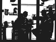 Appétit nocture tout en bleu /  Blue snack window.   Copenhague / Copenhagen.  25-10-2008- Bichromie en N & B