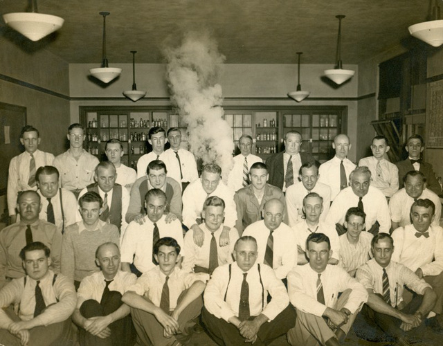Group Portrait with Man Smoking