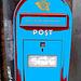 Boîte aux lettres publique  /  Red public mailbox / Copenhagen -  October 20th 2008-  Bleu postérisé
