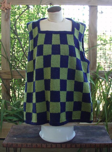 green & navy check wool top