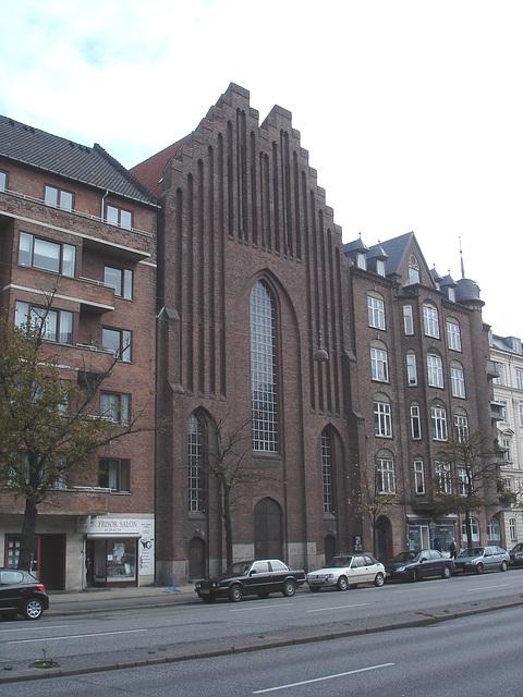 Salon de coiffure et église Viking / Frisor salon danish street church.  Copenhague, Danemark.   20-10-2008