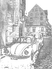 VW -  BC73-409.  Copenhague.  26-10-2008  -  Dark outlines - Contours noirs