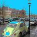 VW et lampadaire /  VW & street lamp - Copenhagen. 26-10-2008 - Effets postérisants