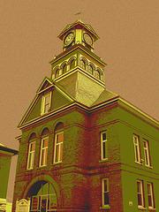 Palais de justice /  Courthouse -  Newport, Vermont.  USA / États-Unis.  23 mai 2009- Photofiltré