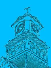 Palais de justice /  Courthouse -  Newport, Vermont.  USA / États-Unis.  23 mai 2009 -  Lead artwork in blue / Mine de plomb  en bleu