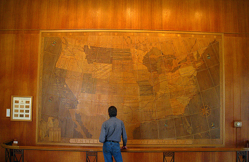 usa map in mammoth hot springs hotel 4269