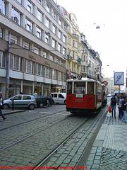 DPP #349 with Trailer #855 on Vodickova, Prague, CZ, 2009
