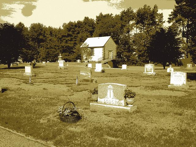 Cimetière St-Charles / St-Charles cemetery -  Dover , New Hampshire ( NH) . USA.   24 mai 2009  - Postérisation sépiatisée
