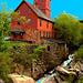 Le moulin Chittenden / Chittenden mills -  Jericho. Vermont . USA.  23-05-2009  - Postérisation avec ciel bleu ajouté .