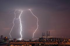 Lisboa, thunderstorm over the Bridge Vasco da Gama (2)