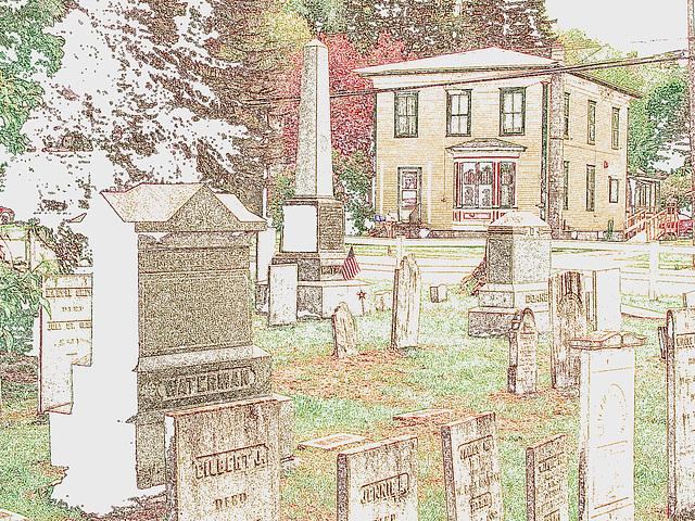 Cimetière de Johnson / Johnson's cemetery.  Vermont.  USA.  23 mai 2009- Contours de couleurs / Colourful outlines