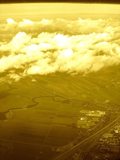Vol / flight - Bruxelles / Brussels  - Amsterdam.  19 juillet 2008   -  Sepia traité