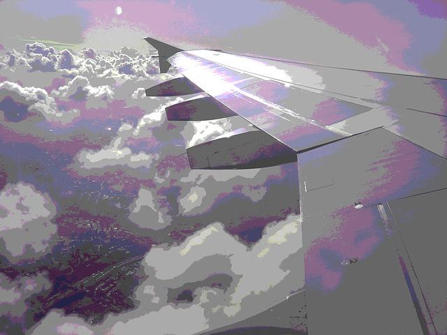 Aile et nuages - Vol Air Transat Bruxelles-Montréal- 29 octobre 2008 -  Postérisation