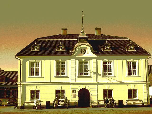 Tourist information building  /   Bureau d'information touristique .   Laholm  / Suède - Sweden.  25 octobre 2008- Sepia postérisé