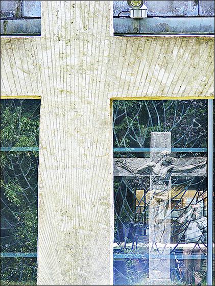 Crucifix reflected