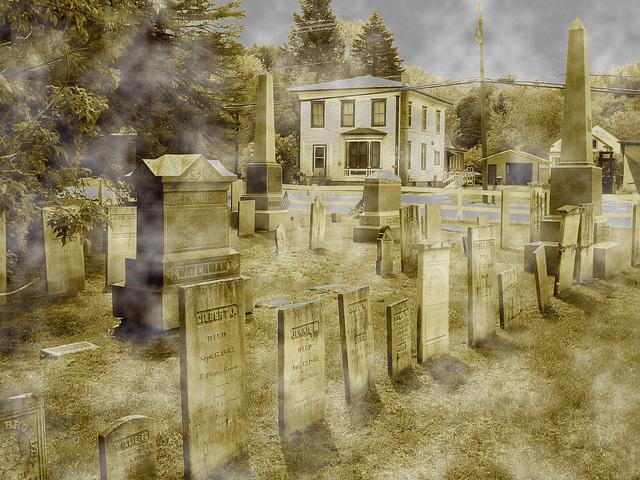 Cimetière de Johnson  /  Johnson's cemetery -   Vermont .  USA /  États-Unis.  23 mai 2009 -  Sepia au ciel bleu + effet brume blanche DSC09887