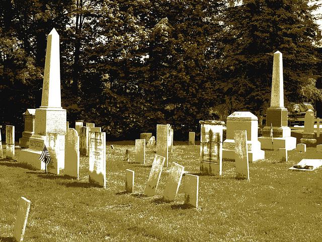 Cimetière de Johnson  /  Johnson's cemetery -   Vermont .  USA /  États-Unis.  23 mai 2009- Postérisation sépiatisée
