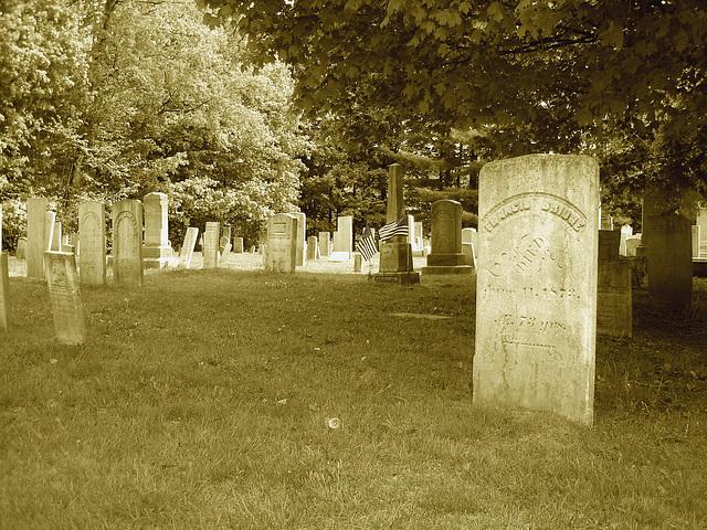 Cimetière de Johnson  /  Johnson's cemetery -   Vermont .  USA /  États-Unis.  23 mai 2009-  Francis Gridge. June 11. 1873. Sepia