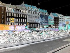 Bikes garden !  Jardin de vélos !  Copenhagen- 20 octobre 2008.  Négatif