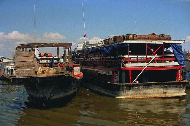 Passing big fishing boats