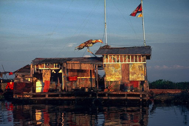 Floating home of Vietnamese fisher