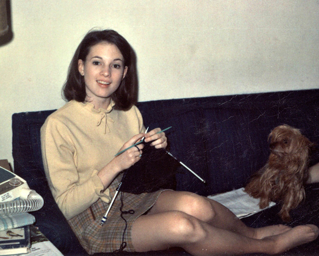 Mary at Christmas with her dog, Cricket; Greenville, IL, 1968,