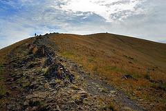 Climbing to the mountain top of Shiliin Bogd Uul