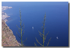see down  from cliff Cabo Girã  catamarans look like children jollyboats